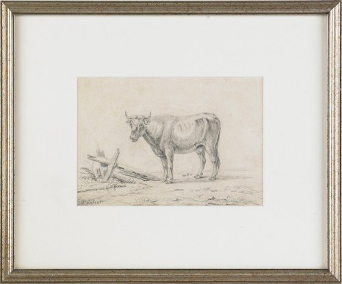 826: Three Continental etchings of cows, 19th c., larg