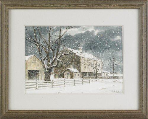 828: Richard Bollinger, watercolor snow scene of a bar