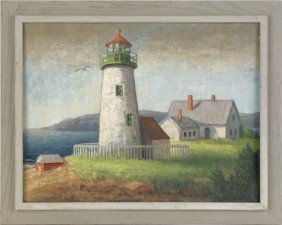 Oil On Board Harbor Scene Of A Lighthouse, Signed
