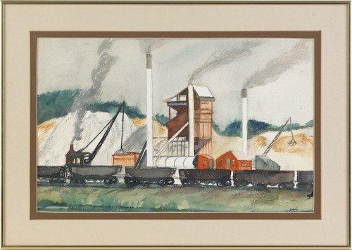 837: Luis Rapp (American, 1907-1992), watercolor indus