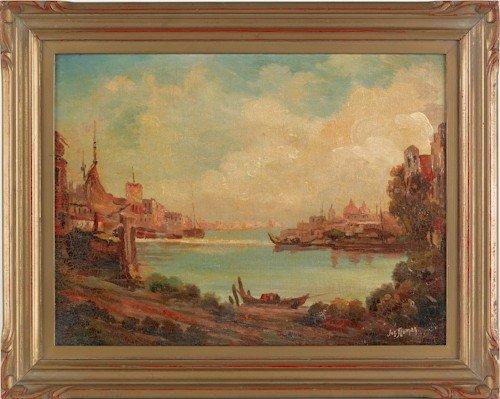 839: Joseph Sloman (b. 1883), oil on board venetian ha