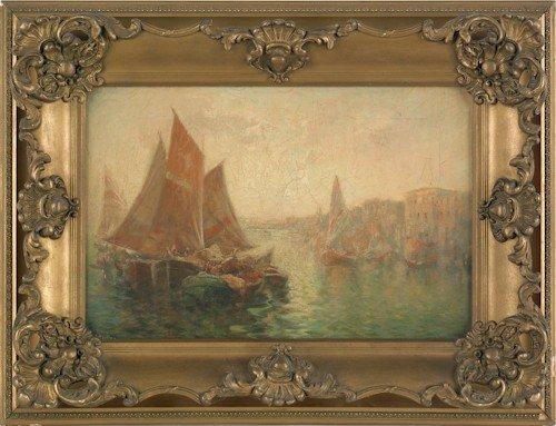 841: Oil on canvas harbor scene, 12 1/2'' x 18 1/2''.