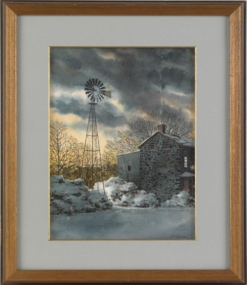 842: Richard Bollinger, watercolor on paper of a barn