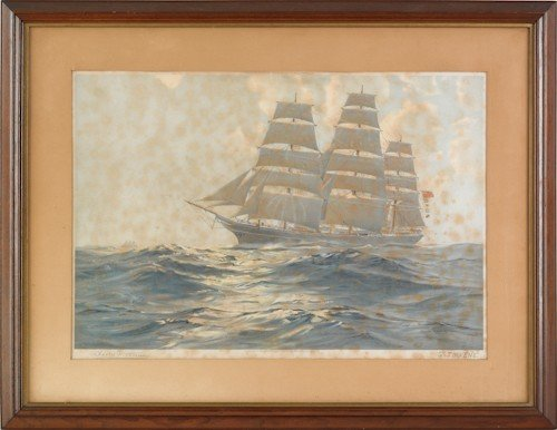 844: Three nautical lithographs, 19th c., one signed