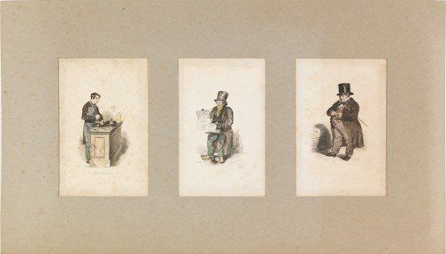 846: Four early French colored engravings, 19th c., la