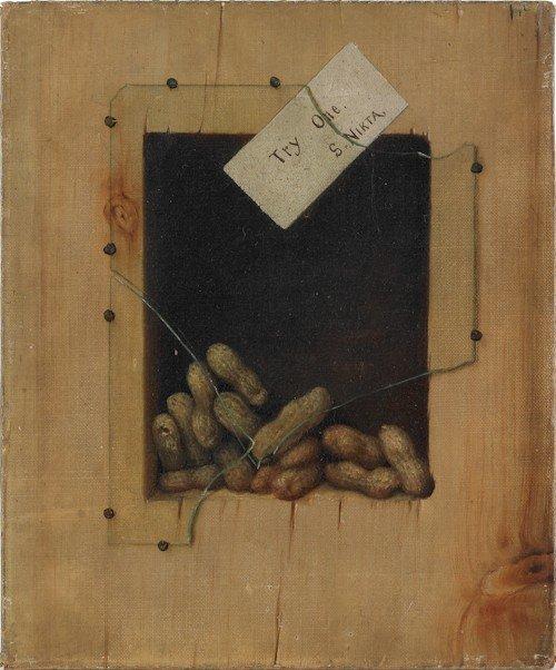 847: Trompe l'oeil, oil on canvas of peanuts, 19th c.,