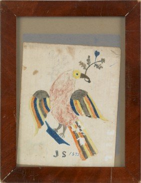 Watercolor Drawing Of An Eagle, Initialed J.S.,
