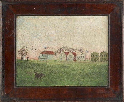 850: Primitive oil on canvas landscape, 19th c., with