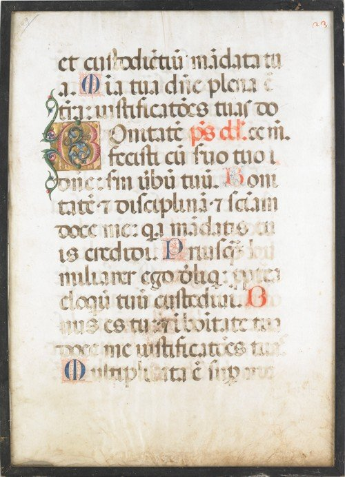 852: Framed vellum manuscript page, 20 1/2'' x 15''.