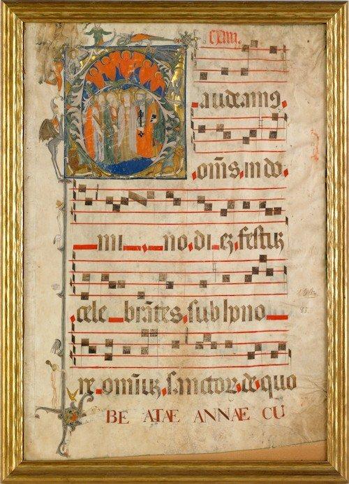 853: Two vellum manuscript pages, 18th c., largest - 2