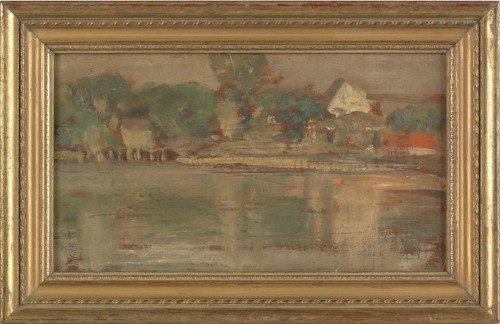 854: Oil on panel impressionist landscape, 20th c., 6