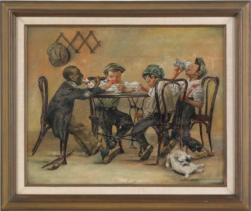 857: Contemporary oil on canvas of children eating ice