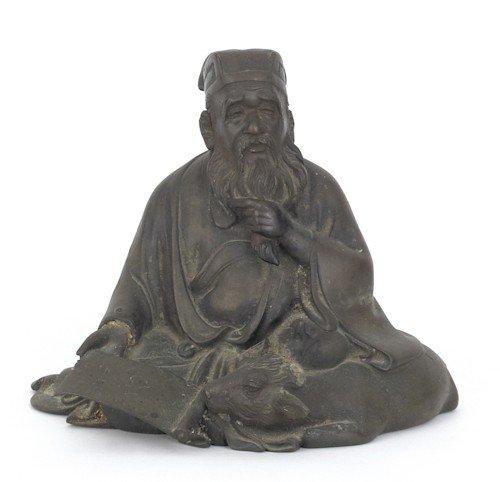859: Bronze figure of a scholar, 7 1/2'' h.