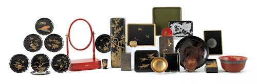 860: Large collection of lacquerware table articles. P