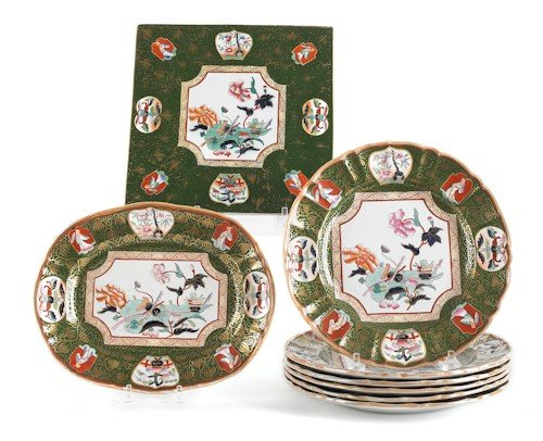 862: Eight pieces of decorated ironstone china, early