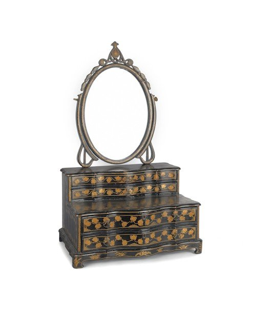 864: Chinese black lacquer dressing mirror, 19th c., w