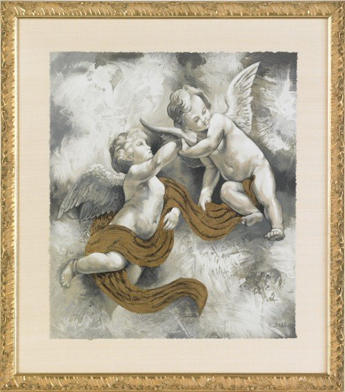 869: Pair of lithographs depicting cherubs, signed Ro