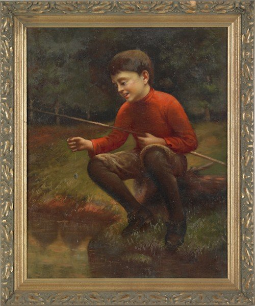 870: Oil on canvas of a young boy fishing, ca. 1900, 2