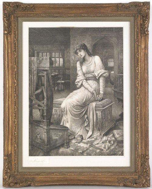 871: Etching of a woman, signed indistinctly lower lef