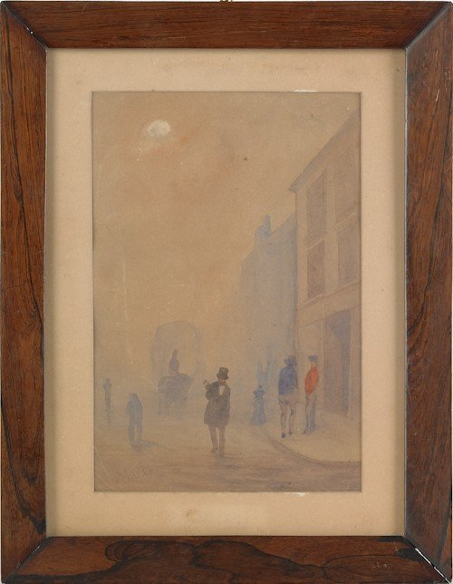 872: Watercolor street scene, signed lower left, Whis