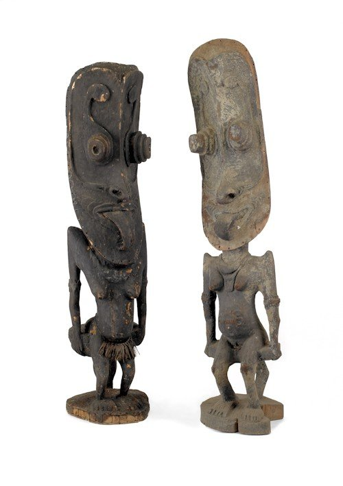 1296: Three African carved and painted wood figures, 77
