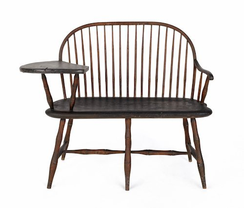 2: Rare Delaware Valley writing arm Windsor settee,