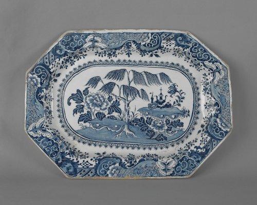 3: Massive English delft blue and white platter, ca