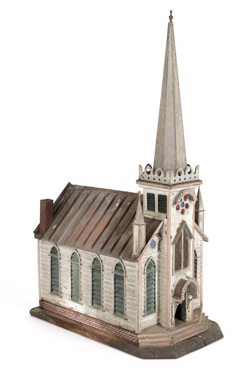 6: Detailed tin model of a church, with stained gl
