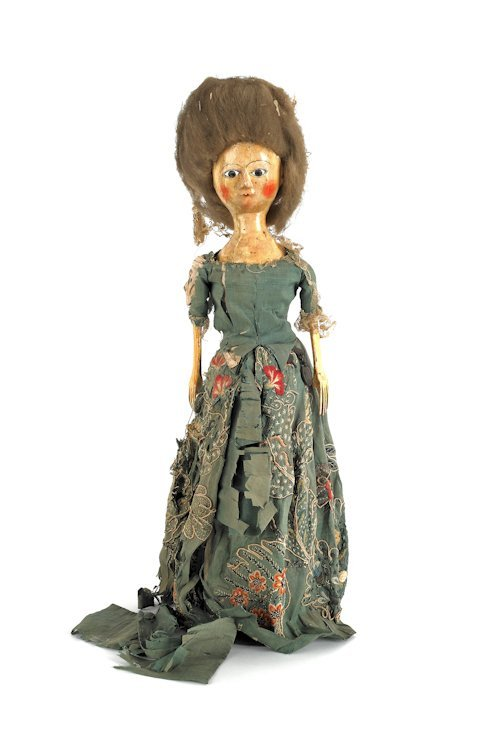 24: English Queen Anne wooden doll, with brown glas