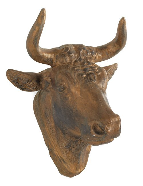 49: Two painted tin bull's head plaques, late 19th c