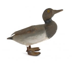 Carved And Painted Standing Duck Decoy, Ca. 1910
