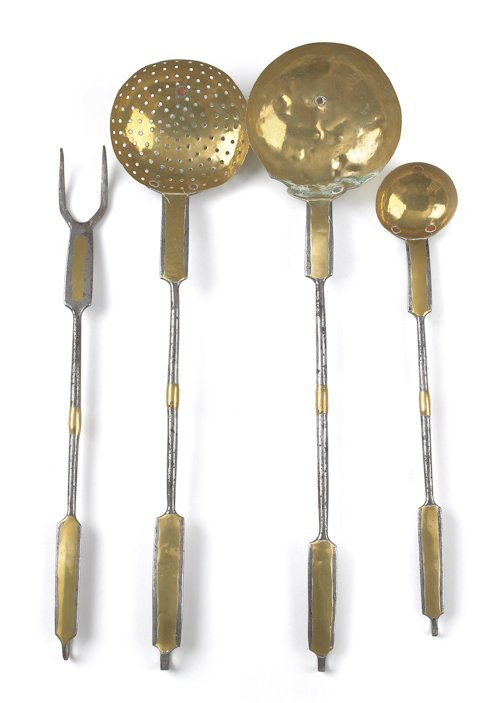 53: Set of four Pennsylvania wrought iron and brass