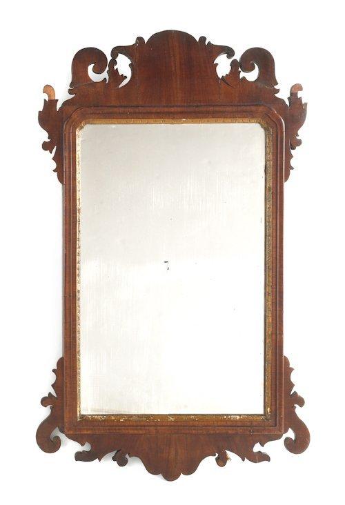 58: Queen Anne mahogany veneer mirror, with scallop