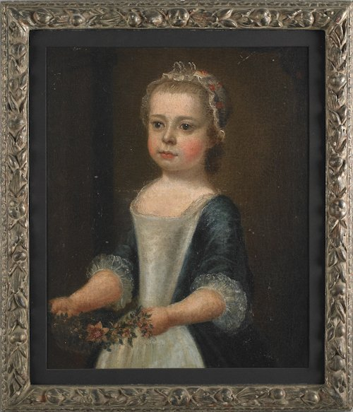 65: English, 18th c., oil on canvas portrait of a li