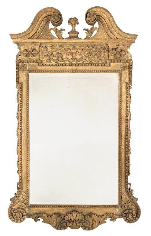 66: Georgian carved giltwood looking glass, ca. 1750
