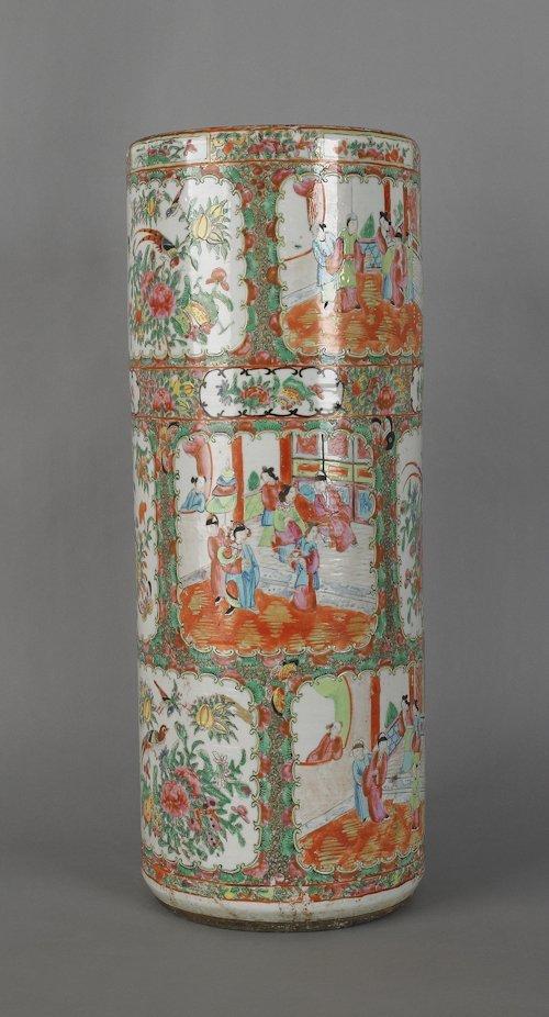68: Chinese export porcelain rose medallion umbrella