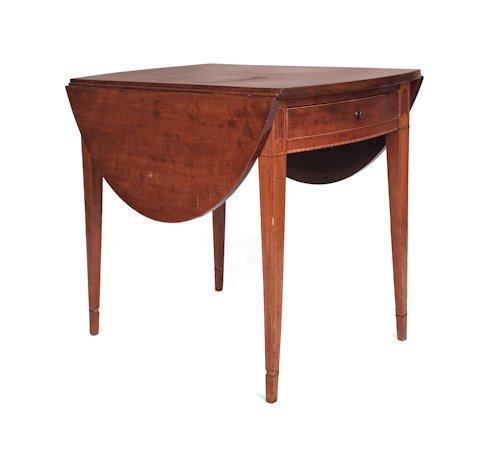 69: Pennsylvania Hepplewhite cherry Pembroke table,