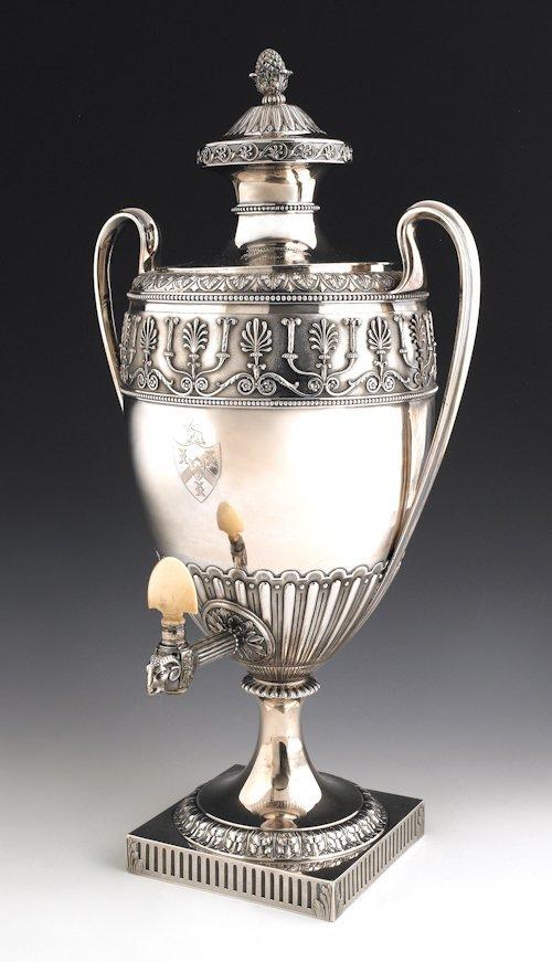 71: English silver water urn, 1790-1791, bearing th