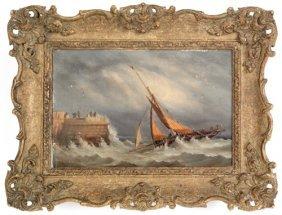 Oil On Canvas Coastal Scene, Dated 1874, Sign