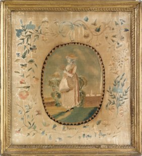 English Silk Embroidery, Early 19th C., Of A Wo