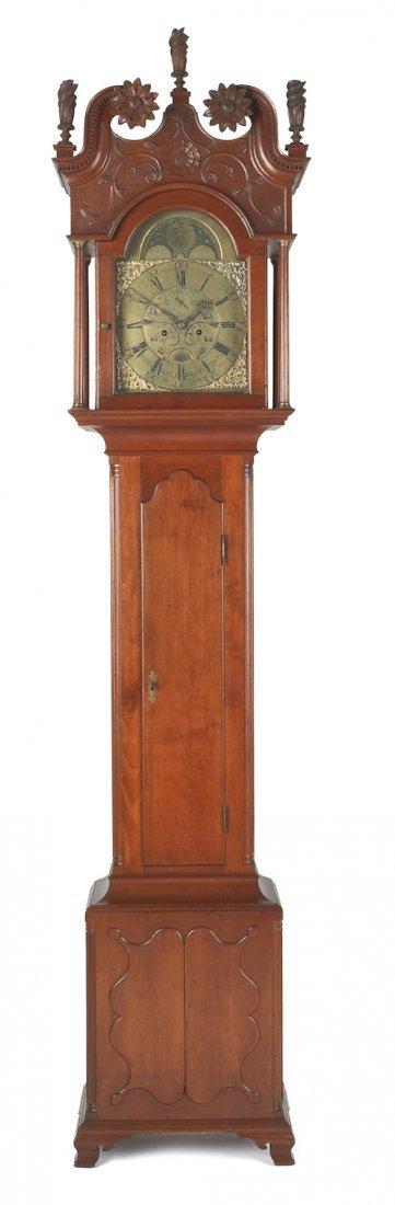 193: Pennsylvania Chippendale cherry tall case clock,
