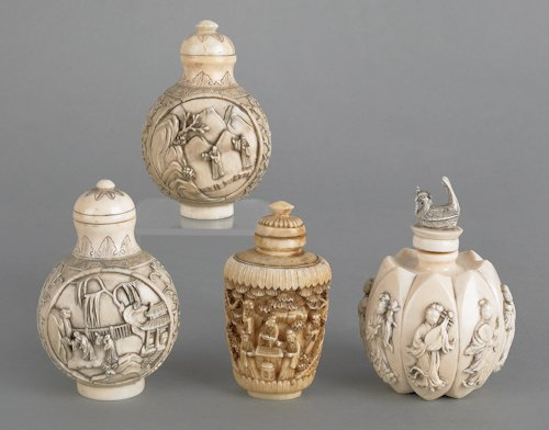 194: Four Chinese carved ivory snuff bottles, ca. 190