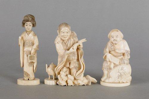195: Three Japanese carved ivory figures, ca. 1900,