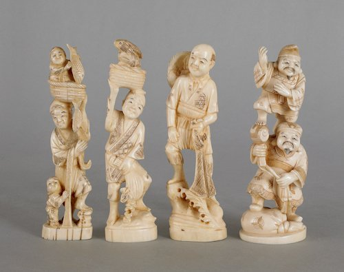 196: Four Japanese carved ivory figures, ca. 1900, t