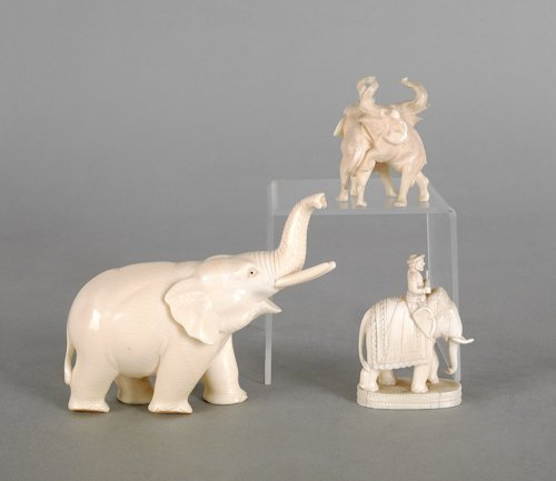 200: Three Chinese carved ivory elephants, ca. 1900,