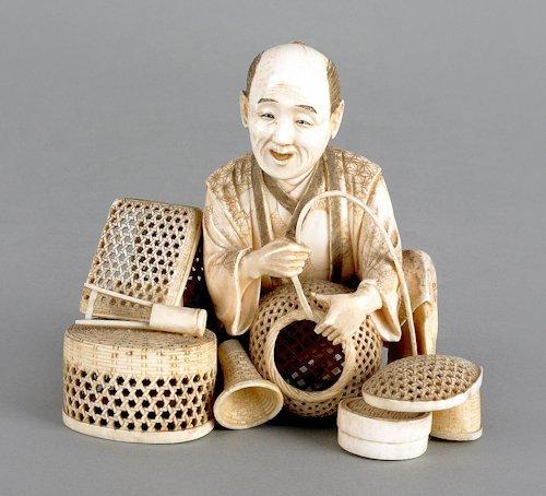 202: Japanese carved ivory figure of a basket maker,