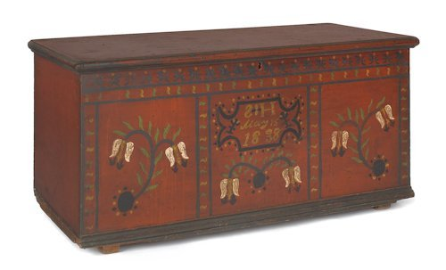 206: Central Pennsylvania painted pine dower chest,