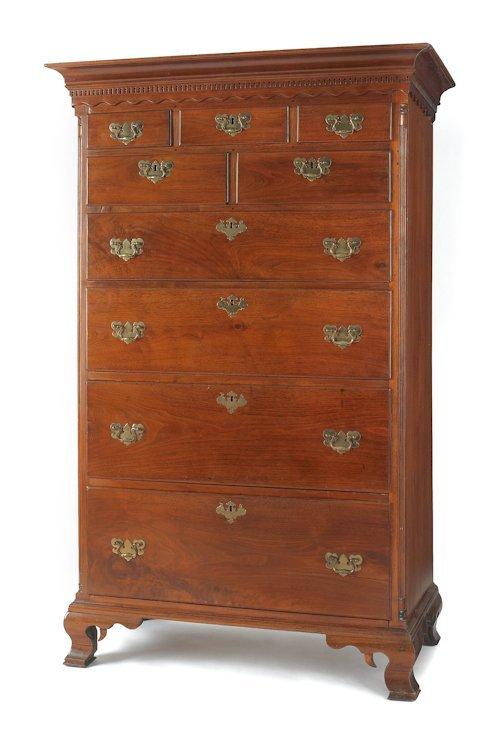 208: Pennsylvania Chippendale walnut tall chest, ca.