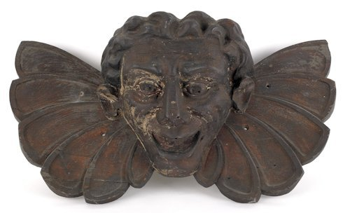 209: Carved pine face mask, early/mid 19th c., proba