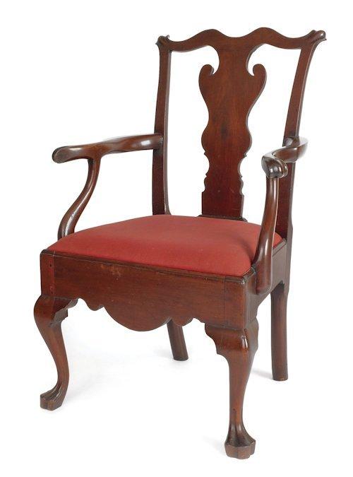 210: Pennsylvania Queen Anne walnut armchair, ca. 176